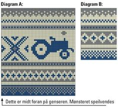 Guttegenser i Senjagarn Legg opp m på rundpinne nr Strikk 5 cm… Knitting Charts, Knitting Stitches, Baby Knitting, Knitting Patterns, Crochet Patterns, Beaded Cross Stitch, Cross Stitch Baby, Cross Stitch Designs, Cross Stitch Patterns