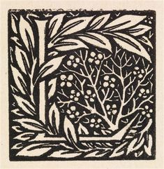 William Morris - Love is Enough - Initial letter 'L' entwined with Laurel Leaves, 1872, Wood engraving, printed in black.
