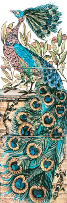 William De Morgan:  Peacock Tile Panel