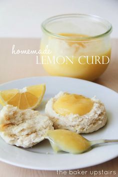 Homemade lemon curd from The Baker Upstairs. A deliciously luscious sweet and tart treat! You won't believe you can make it at home! www.thebakerupstairs.com