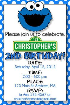 Cookie monster invite cookie monster party pinterest cookie cookie monster birthday invitation filmwisefo
