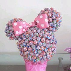 Items similar to Minnie dum dum centerpiece on Etsy Minnie Birthday, Birthday Parties, Candy Arrangements, Minnie Mouse Theme, Mickey Mouse, Sweet Trees, Candy Crafts, Festa Party, Chocolate Bouquet