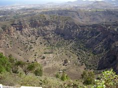 Calder de Bandama, a volcanic caldera, with a 3,300 ft diameter and is 650 ft deep. Located on Gran Canaria, Canary Islands, Spain.