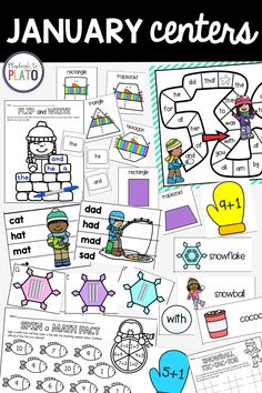 January math and literacy centers just got a whole lot easier to plan! Just hit print. These 20 print-and-play stations practice sight words, shapes, math facts, telling time and so much more. They are perfect for kindergarten and first grade!