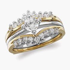 Two-Piece Interlocking CZ Wedding Ring Set