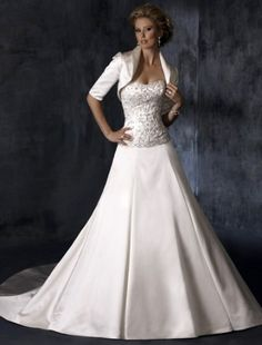 2011 Style A-line Strapless Court Trains Sleeveless Satin Wedding Dress For Brides