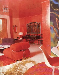 One of the fundamental tenets of mid-century interior design: pick a god-awful color and just go ape shit with it. -SB