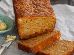 Papaya and banana bread with honeycomb butter