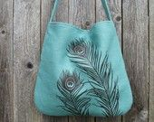 Hemp Bag with Peacock Feathers Organic Cotton Linging -  Deep Gold Mustard. $58.00, via Etsy.