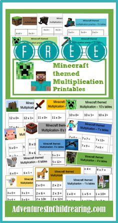 FREE Minecraft Multiplication drill sheets - print and use to do fun, timed multiplication drills. Minecraft Classroom, Minecraft Activities, Kids Learning Activities, Math For Kids, Fun Math, Multiplication Drills, Learning Support, Homeschool Math, Teaching Math
