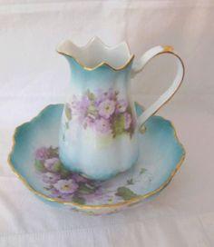 Stunning Vintage 1898 China Co Lavender & Aqua Blue Pitcher Bowl and Set Violet Flowers Gold Trim Victorian China