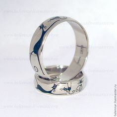 Купить Обручальные кольца с кошками - золото 750 пробы, эмаль, Кошки, эксклюзивные украшения