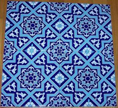 "12 8""x8"" Blue & White Seljuk Geometric Floral Design Turkish Iznik Ceramic Tile  #WallDecor"