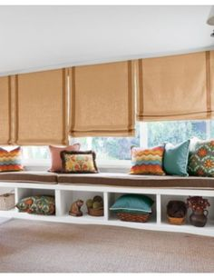 Dream of beautiful windows with the help of our Inspiration and Idea Gallery! House Blinds, Blinds For Windows, Window Curtains, Smith And Noble, Modern Blinds, Bamboo Blinds, How To Make Curtains, Custom Window Treatments, Custom Windows