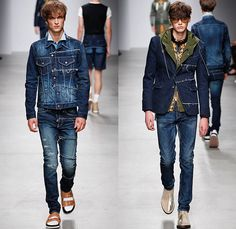 MIHARAYASUHIRO 2015 Spring Summer Mens Runway Catwalk Collection Looks - Mode à Paris Fashion Week Mode Masculine France - Denim Jeans Patchwork Frayed Vintage Ripped Destroyed Destructed Sandals Socks Outerwear Coat Paisley Drawstring Shorts Sneakers Bomber Jacket Tuck Out Shirt Black Knit Cardigan Hoodie Abstract Blazer Shorts Hat Fedora Cheetah Print Spots Pants Trousers