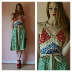70s Wrap Dress / Koos Van Den Akker / Halter Dress / Cotton Patchwork Dress / Rare and Collectible / Size Small-medium