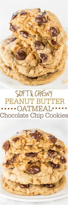 Peanut Butter Oatmeal Chocolate Chip Cookies (So Easy!) – Averie Cooks Soft and Chewy Peanut Butter Oatmeal Chocolate Chip Cookies — 3 favorite cookies combined into 1 so you don't have to choose! Easy, no-mixer recipe, and always a hit! Cookie Desserts, Cookie Recipes, Dessert Recipes, Cookie Bars, Cookie Ideas, Peanut Recipes, Baking Cookies, Brownie Cookies, Cake Cookies