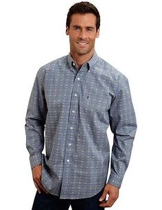 Stetson Western Shirt Mens L/S Print Button L Blue 11-001-0526-0360 BU