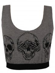 KarmaClothing Grey Three Skull Print Sports Bra