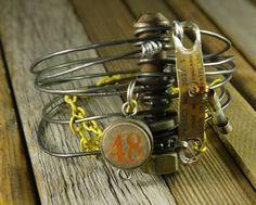 OOAK industrial style steampunk bracelet with recycled charms.