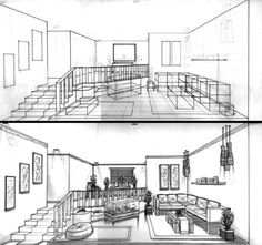 Living Room 2 Point Perspective 2 point perspective interior | perspective drawing | pinterest