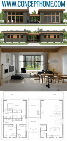 House Plan in modern architecture, new home plan, - World of ideas ! New House Plans, Dream House Plans, Modern House Plans, Small House Plans, Modern House Design, Plans Architecture, Residential Architecture, Architecture Design, Modern Architecture Homes