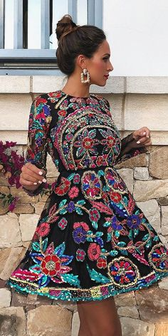 The 15 Most Stylish Wedding Guest Dresses For Spring ❤ wedding guest dresses for spring short with long sleeves florl print sequins rocio osorno ❤ hochzeitsgast The 15 Most Stylish Wedding Guest Dresses For Spring Unique Dresses, Trendy Dresses, Fall Dresses, Sexy Dresses, Short Dresses, Prom Dresses, Strapless Dress, Best Wedding Guest Dresses, Wedding Gowns