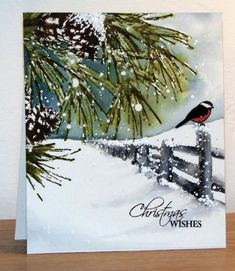 P'tit oiseau sur clôture by Micheline Jourdain Cards and Paper Crafts at Penny Black Christmas Card Images, Xmas Cards, Christmas Art, Winter Christmas, Handmade Christmas, Holiday Cards, Painted Christmas Cards, Christmas Wishes, Penny Black Karten