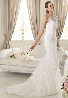 Lace Bateau Mermaid Elegant Wedding Dress - So then I wouldn't need a strapless bra, right? ;P