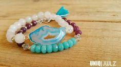 Handmade Jade & Druzy connector bracelet by UNIQ|JWLZ. Druzy on picture is SOLD. www.facebook.com/uniq-jwlz