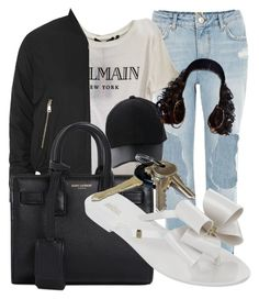 Untitled #287 by mommyandme332 on Polyvore featuring Balmain, Topshop, River Island, Melissa, Yves Saint Laurent, Amiee Lynn and Avon