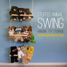 Stuffed animal swing - Help Your Kids Stay Organized This Summer, toy organization and children's bedroom cleaning tips and ideas