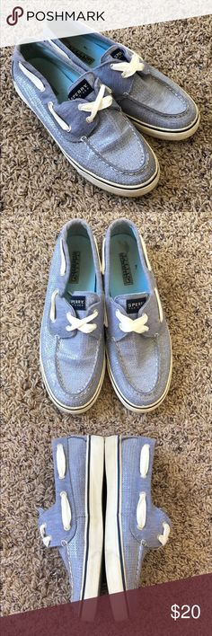 Sperry Boat Shoes Official canvas Sperry boat shoes with clear sequins. Women's 7.5, in great condition and rarely worn. Sperry Shoes Sneakers
