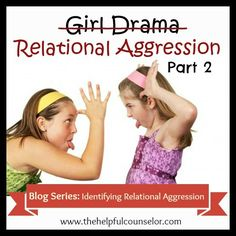 Welcome to my series on girl drama relational aggression. In this post, we will take a look at the definition of relational aggression and how to tell when it is happening. As I stated, in… Elementary School Counseling, School Social Work, Group Counseling, Counseling Activities, School Counselor, Elementary Schools, Work Activities, Physical Activities, Friendship Problems