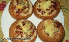 Stuffed buns with recipe photo Meat Recipes, Cake Recipes, Cooking Recipes, Junk Food, Avocado Tatar, European Dishes, Hungarian Recipes, Hungarian Food, Bread Rolls