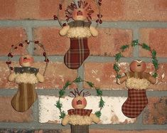 Primitive PATTERN Ginger Snowman Annie & Andy Stocking Ornament - Wee Lil Stocking Stuffers - Sew Many Prims - instant download