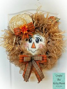 Flora the Pretty Scarecrow. Cute Scarecrow Wreath for Autumn. Burlap Mesh and Rafia. Flora the Pretty Scarecrow. Cute Scarecrow Wreath for Autumn. Burlap Mesh and Rafia. Fall Mesh Wreaths, Fall Deco Mesh, Holiday Wreaths, Door Wreaths, Etsy Wreaths, Ribbon Wreaths, Winter Wreaths, Floral Wreaths, Burlap Wreaths
