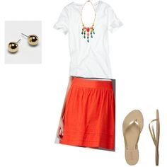 orange skirt! Got one and I love the colored necklace!
