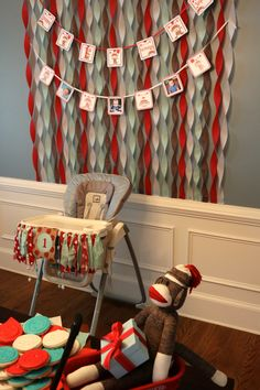 Sock Monkey Birthday Party - Streamer Backdrop - Highchair Banner