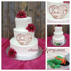 Rustic Wedding Cake with Surprise for the groom on the back!  His favorite ninja turtle peeking out to support him in his big day! Hand carved fondant wood-like heart plaque