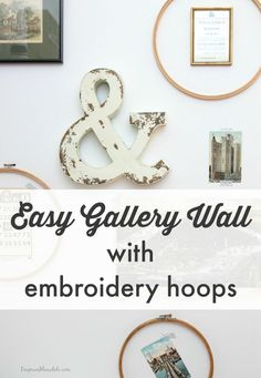 Want instant wall art? I created this easy gallery wall with embroidery hoops. Dagmar's Home,  DagmarBleasale.com #DIY #art #design #wallart #gallerywall #decor
