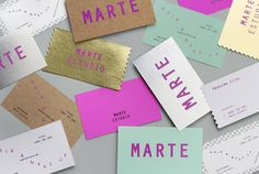 Business cards for Marte Estudio designed by Bienal. Business Branding, Logo Branding, Business Cards, Brand Identity Design, Branding Design, Corporate Design, Corporate Identity, Visual Identity, Brochure Design