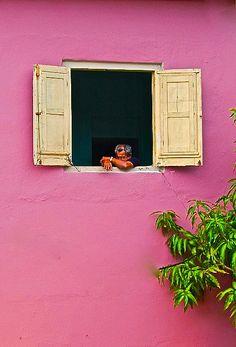 Pink wall in Habana
