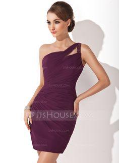 Forme Fourreau Encolure asymétrique Court/Mini Mousseline Robe de cocktail avec Plissé Emperler (016008418) - JJsHouse