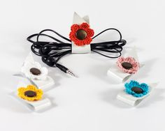 Earphone cord organizer Leather cord tidy by LoveKnittings on Etsy