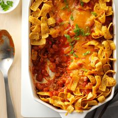Frito Pie Recipe -Frito pie is legendary in the Southwest for being spicy, salty and cheesy fabulous. Here's my easy take on this crunchy classic. —Jan Moon, Alamogordo, New Mexico