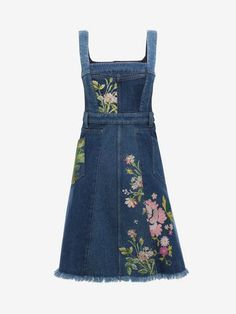 Shop Women's Floral Embroidered Denim Dress from the official online store of iconic fashion designer Alexander McQueen.