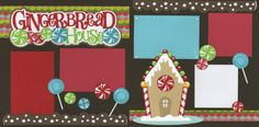 Gingerbread House Christmas Scrapbook Layouts, Scrapbook Cards, Scrapbook Frames, Scrapbook Titles, Scrapbook Layout Sketches, Scrapbooking Layouts, Winter Christmas, Christmas Cards, Christmas Layout