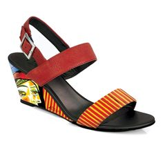 """Crystal-473 Covered Wedge Sandal in """"Girl with Red Beret"""" by Pablo Picasso"""