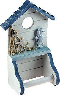 Nautical Blue White Wooden Beach Hut Style Bathroom Loo Toilet Roll Holder